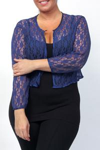 Eaonplus BLUE Open Front Floral Lace Bolero - Plus Size 18 to 32