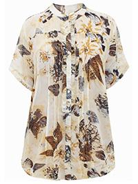 SAND Leaf Print Pleated Short Sleeve Semi Sheer Blouse  - Plus Size 28 (EU 54)