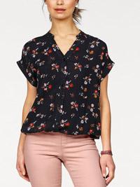 Boysens BLACK Floral Print Short Sleeve Blouson Hem Top  - Size 6/8 to 26/28 (EU 32/34 to 52/54)