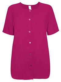 MAGENTA Short Sleeve Button Through Top - Plus Size 12 to 28 (EU 38 to 54)
