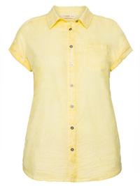 Sheego YELLOW Pure Cotton Button Through Oil Wash Blouse - Plus Size 22/24 to 26/28 (EU 48/50 to 52/54)