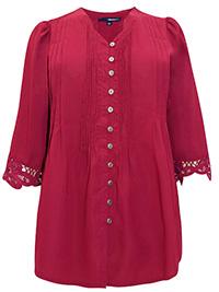 Roamans Denim 24/7 CHERRY Crochet Lace Pintuck Blouse - Plus Size 14 to 32 (US 12W to 30W)