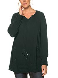Ulla Popk3n DARK-GREEN Mirror Embroidered Peasant Blouse - Plus Size 16/18 to 36/38 (EU 42/44 to 62/64)