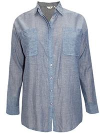 LabelBe BLUE Pure Cotton Boyfriend Shirt - Plus Size 12 to 28