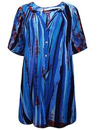 Roamans BLUE Tie Dye Crinkle Tunic Blouse - Plus Size 16 to 26 (US 14W to 24W)