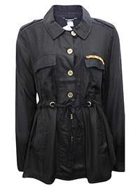 Ellos BLACK Long Sleeve Woven Tie Waist Shirt - Plus Size 14 to 20