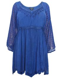 Eaonplus INDIGO Empire Renaissance Embroidered Tunic - Plus Size 18 to 32