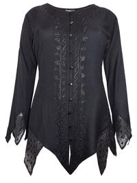 eaonplus BLACK Renaissance Gothic Zigzag Tunic Top - Plus Size 18 to 32
