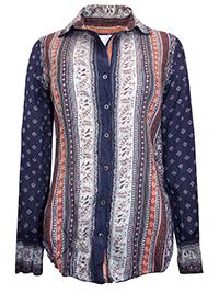 CINO INDIGO Printed Crinkle Cotton Shirt - Size 8 to 16 (XXS to L)