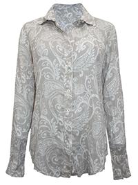 CINO STONE Paisley Print Crinkle Cotton Shirt - Size 8 to 16 (XXS to L)