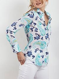 CINO AQUA Floral Print Crinkle Cotton Shirt - Size 8 to 12 (XXS to S)
