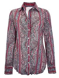 CINO GREY Paisley Print Crinkle Cotton Shirt - Size 8 to 14 (XXS to M)