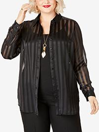 Roamans BLACK Satin Striped Georgette Tunic - Plus Size 16 to 26 (US 14W to 24W)
