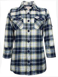Tutti Frutti NAVY Warm Pure Cotton Checked Shirt - Size 10 to 20 (EU 36 to 46)
