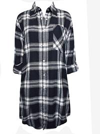 Tutti Frutti BLACK Cotton Warm Checked Boyfriend Shirt - Size 8 to 12 (EU 34 to 38)