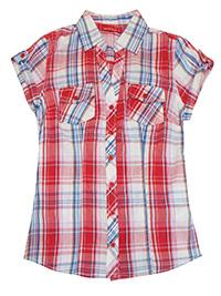 Ferranova RED Camicia Pure Cotton Checked Blouse - Size 8 to 12 (XS to M)
