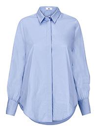Ellos SKY-BLUE Hulda Crisp Cotton Blouson Shirt - Plus Size 18 to 24 (EU 44 to 50)