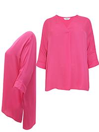 3VANS PINK Fold Over V-Neckline Drop Back Tunic Top - Plus Size 16 to 30/32