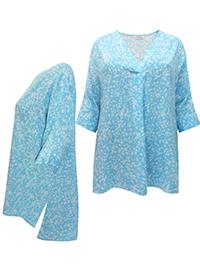 3VANS BLUE Fold Over V-Neckline Drop Back Tunic Top - Plus Size 16 to 30/32