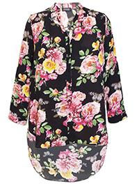 3VANS BLACK Butterfly & Floral Print Longline Blouse - Plus Size 16 to 32