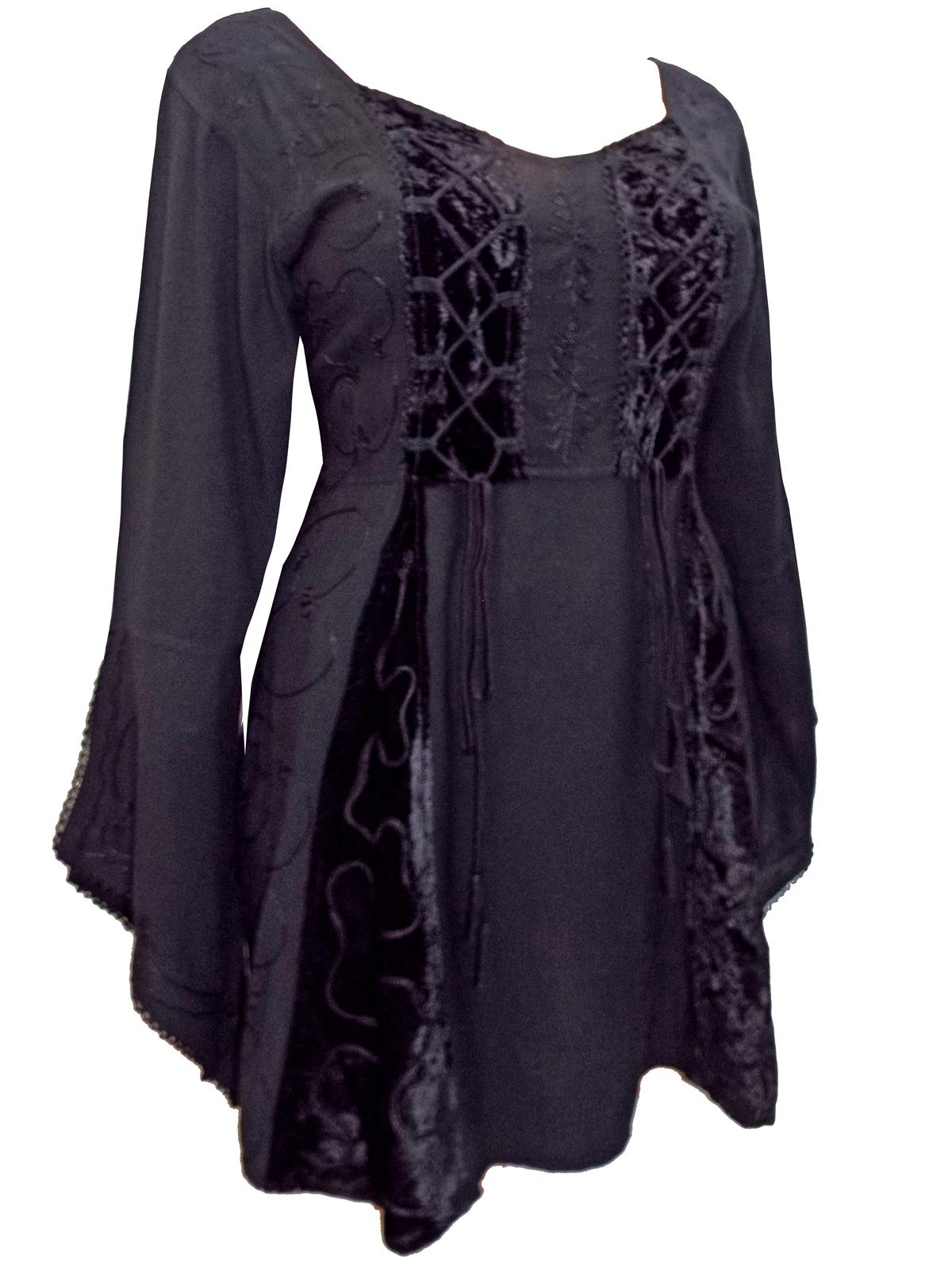 d452189d6a4 eaonplus BLACK Embroidered Renaissance Gothic Corset Tunic Top ...