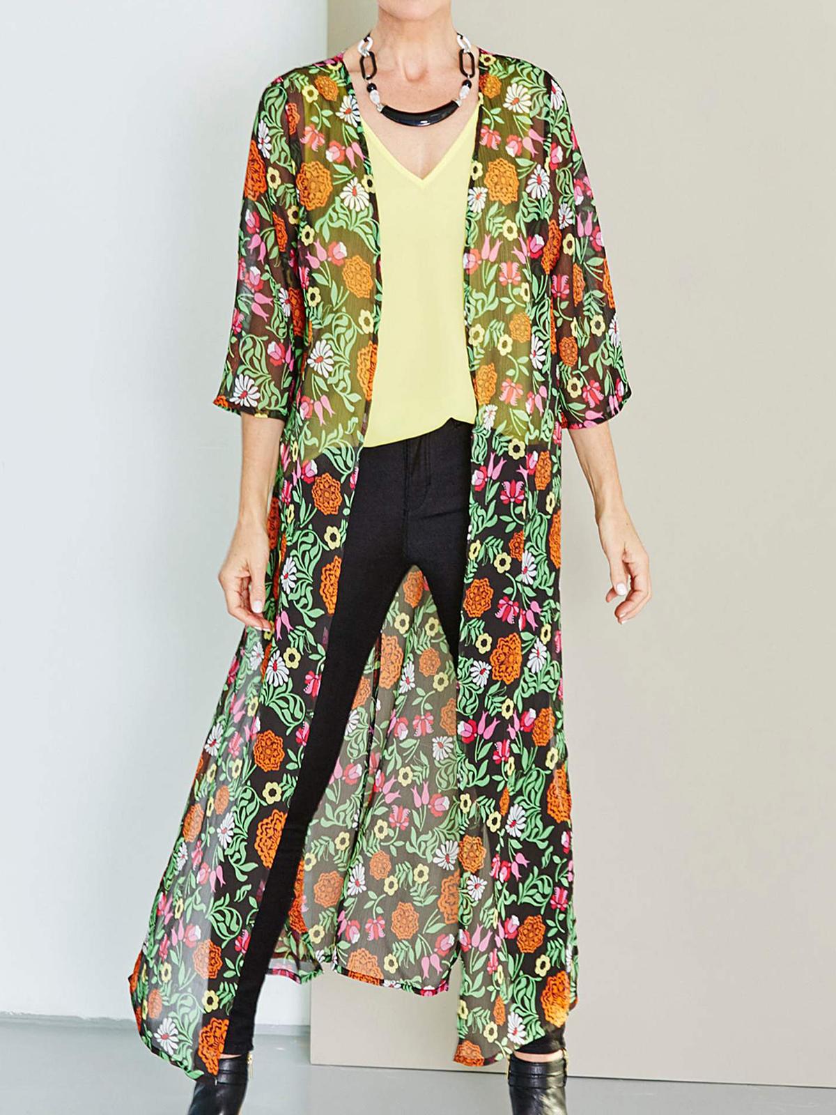 15c5cd67a7 Label Be - - LabelBe MULTI Floral Printed Longline Kimono - Plus Size 16 to  32