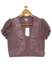 MOCHA Chiffon Sleeve Sequin Corsage Bolero - Size 10 to 16 (Small to XLarge)