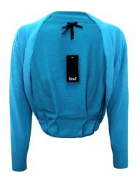 BLUE Fine Knit Pleat Back Bolero Cardigan - Size Small to XLarge