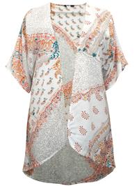 M&Co CREAM Oriental Paisley Print Kimono - Size 8 to 18