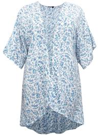 M&Co BLUE Mini Leaf Print Kimono - Size 8 to 18