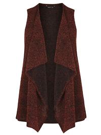 AMY K. Orange Rust Boucle Knit Waterfall Waistcoat - Plus Size 16 to 26