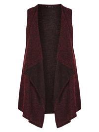 AMY K. Red Boucle Knit Waterfall Waistcoat - Plus Size 16 to 22
