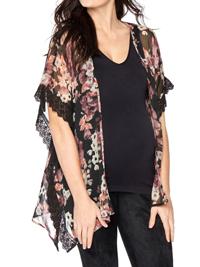 Motherhood Maternity BLACK Floral Print Lace Trim Kimono - Size Small