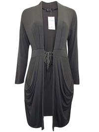 Ecoline Fashion KHAKI Long Sleeve Tie Front Jersey Cardigan - Size Small to XLarge