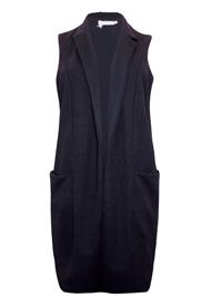 First Avenue BLACK Sleeveless Boyfriend Blazer Jacket - Plus Size 16 to 18