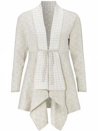 Cellbes BEIGE Mix Othilia Jacquard Knitted Cardigan Jacket - Size 8/10 to 24/26 (EU 34/36 to 50/52)