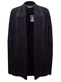 Svea BLACK Open Front Super Soft Jersey Cardigan - Plus Size 12 to 22 (S/M to L/XL)