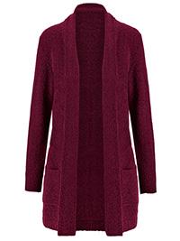 Julipa WINE Longline Boucle Cardigan - Size 8/10 to 28/30
