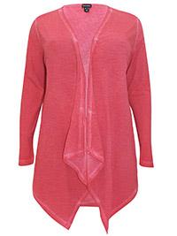 Mia Moda HOT-PINK Pure Cotton Open Front Cardigan - Plus Size 18 to 36 (EU 46 to 64)