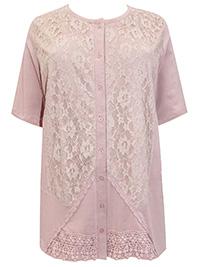 Mia Moda BLUSH Pure Cotton Floral Lace Button Through Cardigan - Plus Size 24 to 36 (EU 52 to 64)