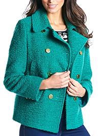 Nightingales JADE Contrast Button Boucle Jacket - Plus Size 22