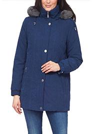 David Barry NAVY Detachable Faux Fur Trim Hooded Coat - Plus Size 12 to 22