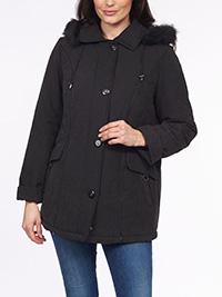 David Barry BLACK Detachable Faux Fur Hood Padded Coat Jacket - Plus Size 12 to 26