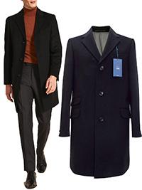 Men M0SS Bros 1851 BLACK Tailored Fit Daper Epsom Overcoat - Size 36 to 46 Short-Reg-Long