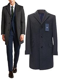 Men M0SS Bros 1851 CHARCOAL Tailored Fit Daper Epsom Overcoat - Size 36 to 46 Short-Reg-Long
