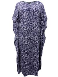 eaonplus NAVY Circle Print So Soft Kaftan Dress - Plus Size 14 to 34