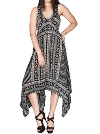 DivaCollection BLACK Floral Border Print Dreamy Handkerchief Hem Dress - Size 10 to 22