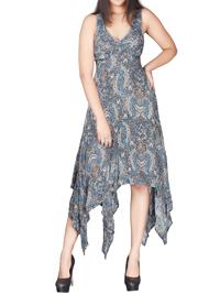 DivaCollection INDIGO Paisley Print Dreamy Handkerchief Hem Dress - Size 10 to 22