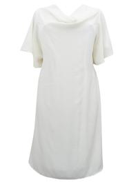 eaonplus CREAM Midi Dress with Belt - Plus Size 18 to 32