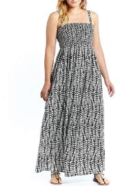 LabelBe MONO Leaf Print Shirred Maxi Dress - Plus Size 16